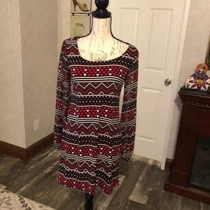 Style & co mixed print heart dress long sleeve S